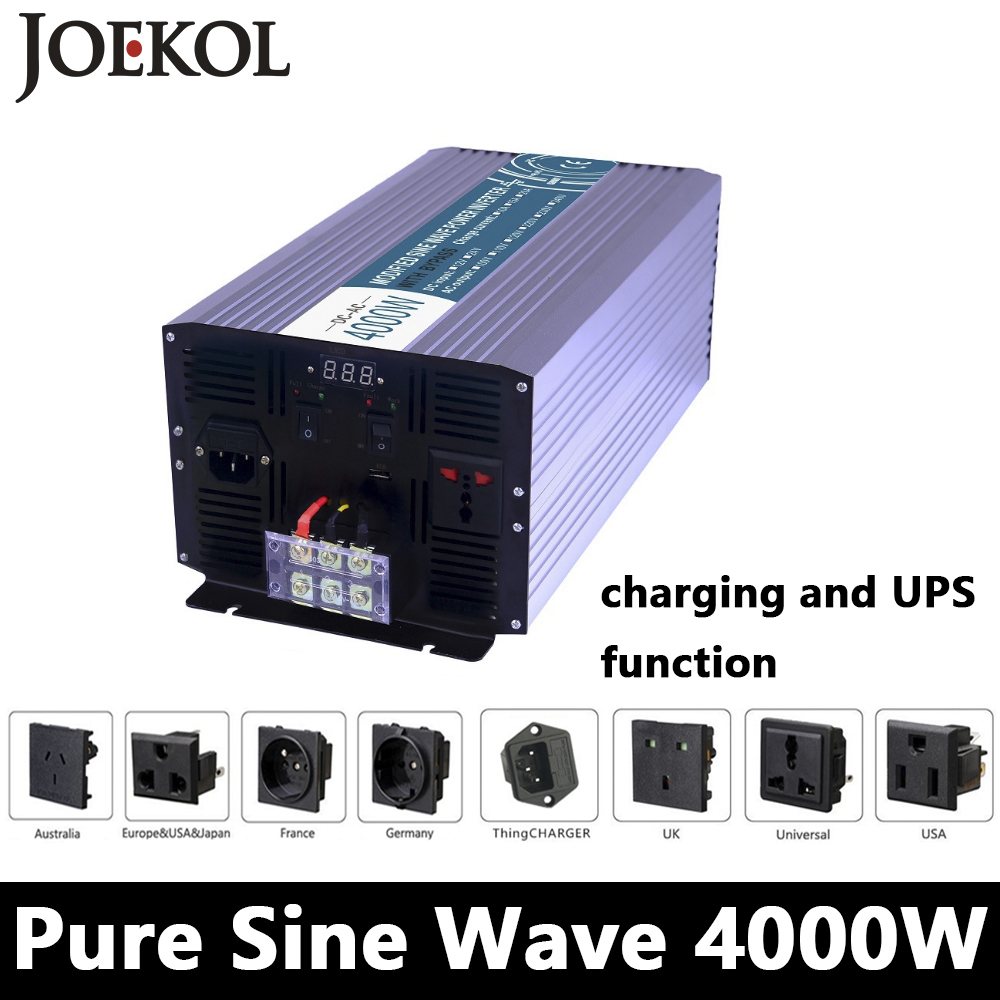 Full Power 4000W Pure Sine Wave Inverter,DC 12V/24V/48V To AC110V/220V,off Grid Solar inverter With Battery Charger And UPS full power 2000w modified sine wave inverter dc 12v 24v 48v to ac110v 220v off grid solar inverter with battery charger and ups