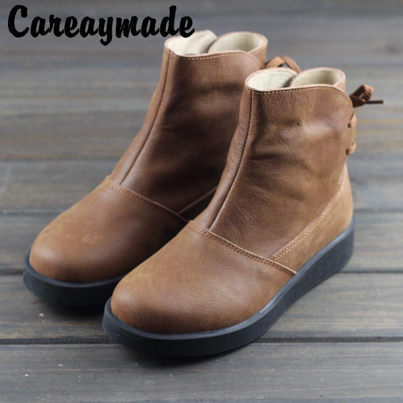 Careaymade Genuine Leather Shoes Pure Handmade Ankle Boot The Retro Art Mori Girl Shoes Fashion Retro Matting Woman Boots in Ankle Boots from Shoes