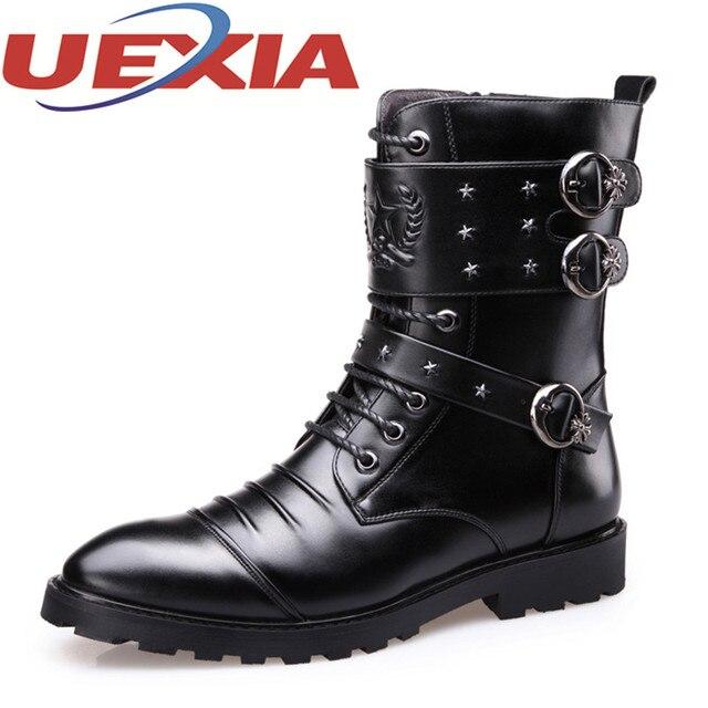6a2faef76 Vestido de Cuero negro Botas Militares de Los Hombres de Invierno Cálido Zapatos  Para Hombre cremallera