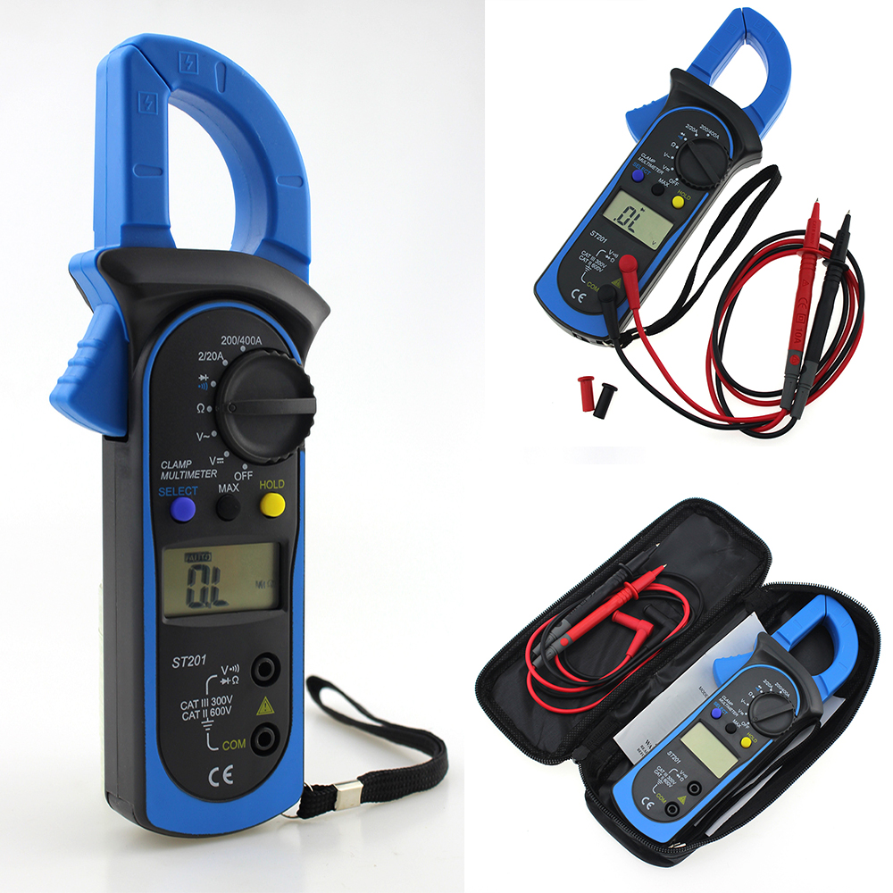 Digital Handheld Clamp Multimeter ST-201 Auto Range Clamp Tester Meter DMM AC DC <font><b>Volt</b></font> Ohm Frequency Clamp MultiMeter image