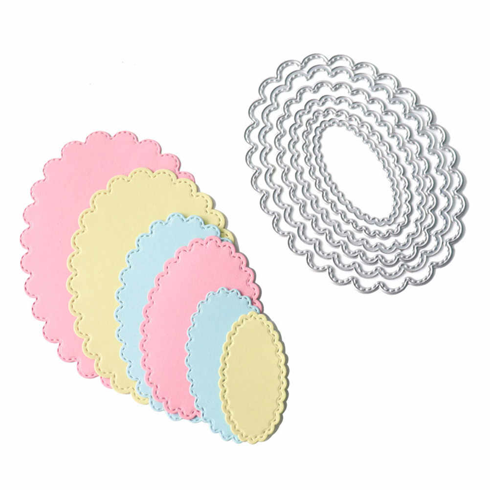 6pcs/set Oval Circle Scallop Frame Dies cutting decorative Scrapbooking Steel Craft Die Cut create Stamp Embossing paper Card