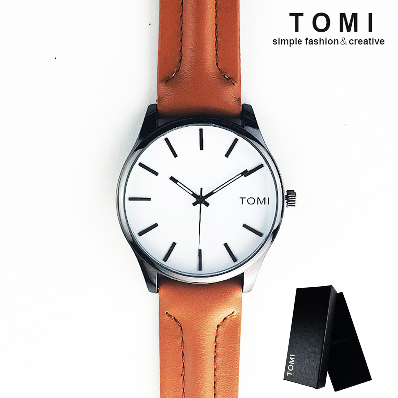 TOMI Genuine Leather Strap Men Watch Top Brand Luxury Quartz Women Watch Lovers Fashion Simple Style Wristwatch Relogio Feminino high quality fashion dial genuine leather strap top sale quartz watch women and men dress wristwatch personality