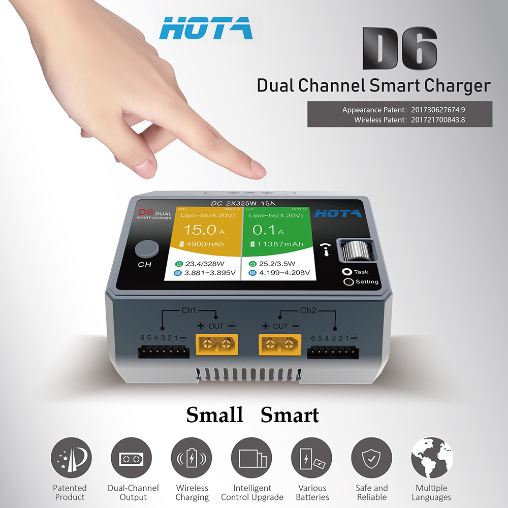 HOTA D6 15A 650W Dual Channel Wireless Smart Charger for Phone Wireless Charging