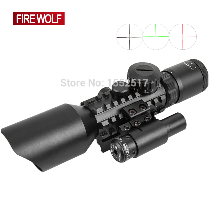 M9 3-10x42 Mil-Dot Reticle Red Green Dot Sight Rifle Scope With Red Laser Airsoft Caza 20mm 11mm Mount Rail Mira Para wipson 11mm 20mm hunting optics scope 3 10x42 riflescope with green red illumination 24 mil dot reticle and red laser sight