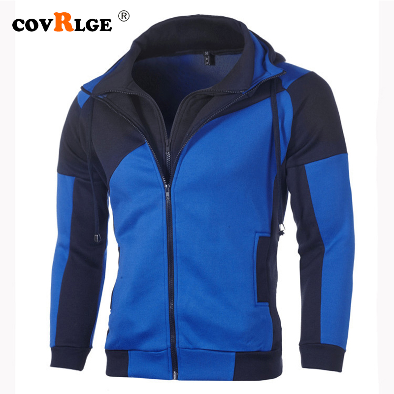 Covrlge Men Hoodies 2019 New Double Zipper Patchwork Color Sweatshirts Personality Causal Hoodies Streetwear Hoodie Male MWW166