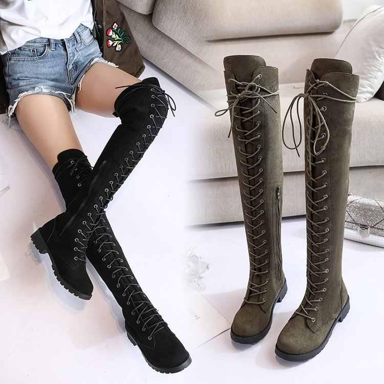 สตรีเข่าสูงรองเท้าแฟชั่นทั้งหมดชี้ Toe ฤดูหนาว Elegant ทั้งหมดรองเท้าผู้หญิง