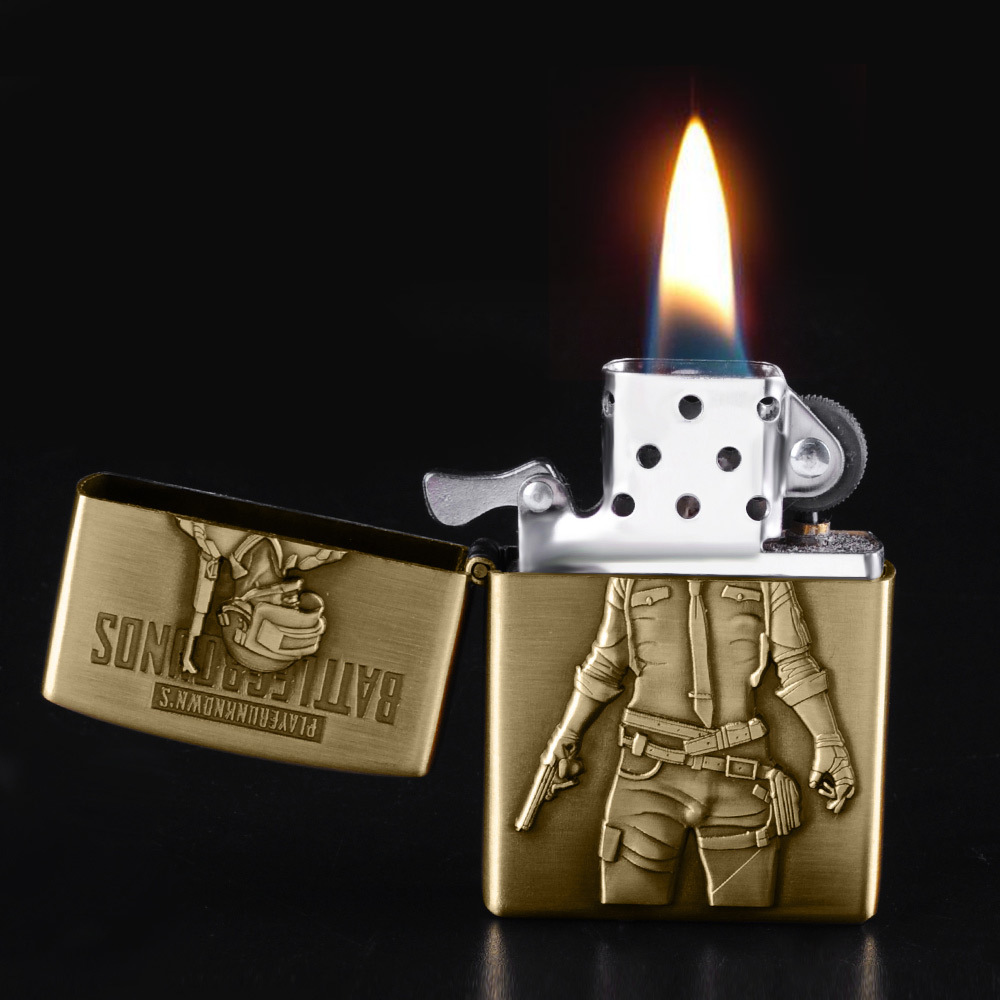 Bronze kerosene lighter new PUBG men's battlefield lighter flint refillable petrol cigarette metal retro gadget-in Matches from Home & Garden