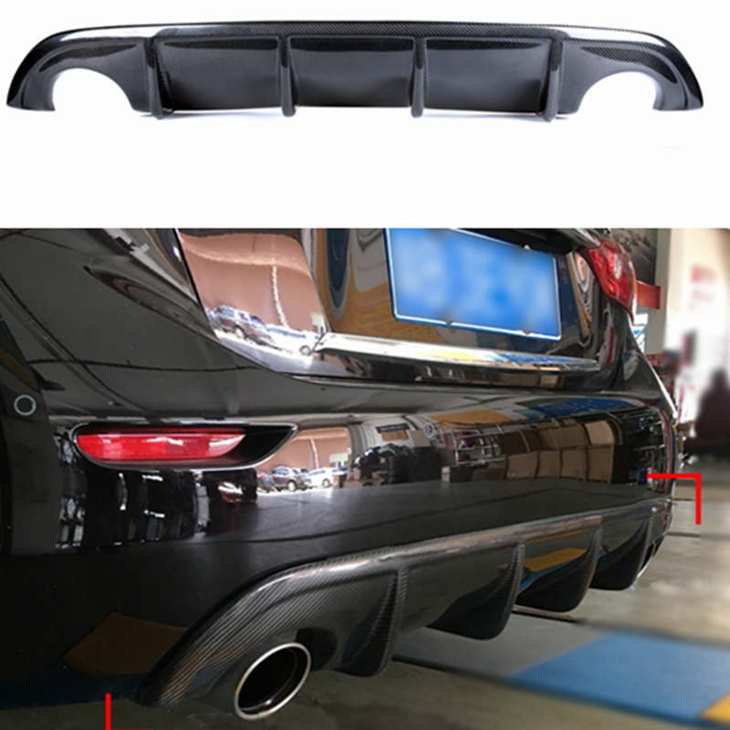 Q50 Carbon Fiber Material Unpainted Matte Black Rear Bumper Lip, Rear Diffuser Spoiler for Infiniti Q50 2014 2015 2016 carbon fiber car rear bumper extension lip spoiler diffuser for bmw x6 e71 e72 2008 2014 xdrive 35i 50i black frp