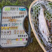 Ultra Fly Fishing flies Set 200 stücke Trocken Nass Nymph fly lure kit angeln box für karpfen forelle hecht angeln