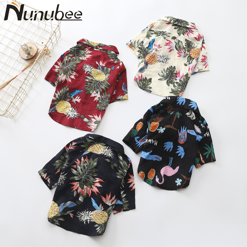 Nunubee Spring New Dog Clothes Fashion Shirt Tropical Pineapple Comfort Cotton French Bulldog Pet Clothes XS