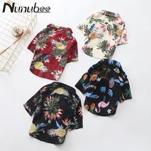 Nunubee Весна новая одежда для собак Модная рубашка тропический ананас Комфорт Хлопок Французский бульдог Pet Одежда XS-XXXL