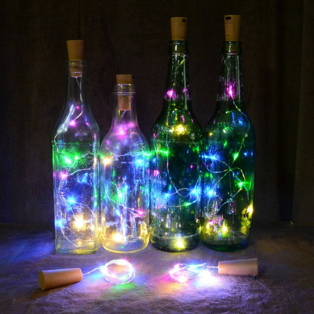 Romantic Light String Wine Bottle Cork Lights Copper Wire String Lights For Wedding Festival Party Home Decor Inner Battery