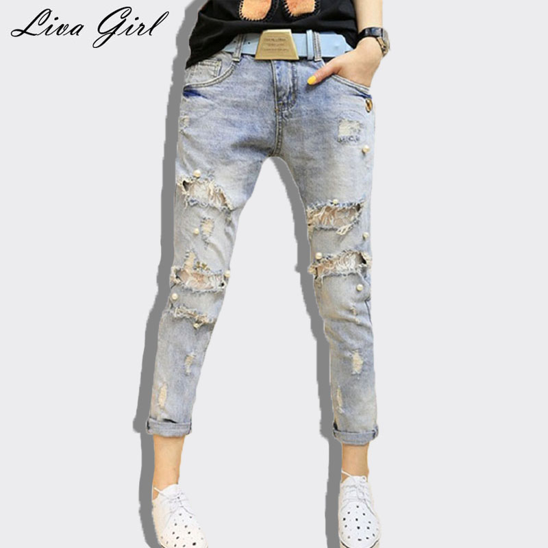 Liva Girl women jeans 2017 spring ripped jeans pencil pants Embroidered Flares hollow out washed jeans boyfriend pants female