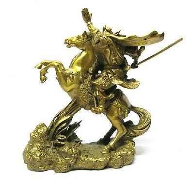 """Ремесла Искусство бронза латунь Дракон воин Гуань Гун/Yu на лошади статуя 7 """"H золото медные инструменты Свадебные латунь бронза"""