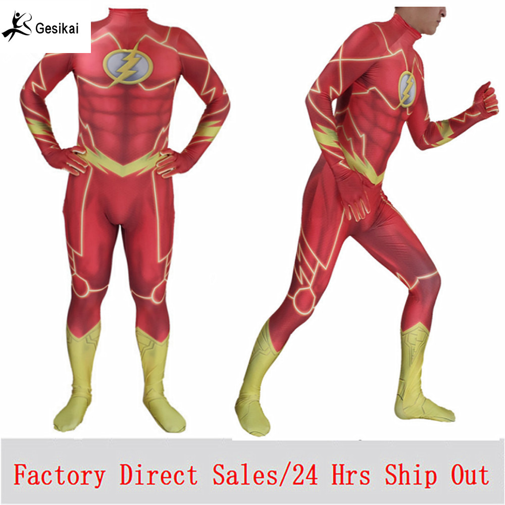 Fancy Kids Adults Magical The Flash Cosplay Costumes Spandex Zentai Bodysuits Jumpsuits Boys Men The Flash Halloween Costumes