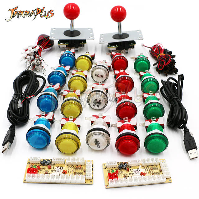 US $20 9 |Zero Delay USB Arcade DIY Kit USB Encoder To PC Raspberry Pi Copy  Sanwa Joystick+ LED Light Illuminated Push Button 1P 2 P COIN-in Coin