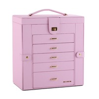 Extra Large Pink Jewelry Organizer For Girls Jewellery Rings Display Box Gifts Necklaces Earrings Storage Cabinet Mirror Armoire