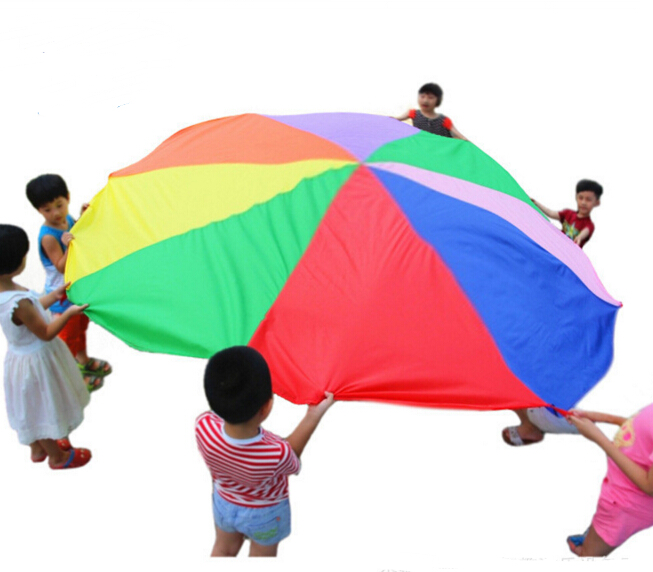 2m child kid sports development outdoor rainbow umbrella parachute toy jump sack ballute play. Black Bedroom Furniture Sets. Home Design Ideas