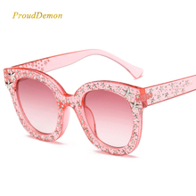 Prouddemon New Arrival Star Diamond Sunglasses Women Fashion Brand Oversize Square Clear Frame Black Lens Sun Glasses For Lady
