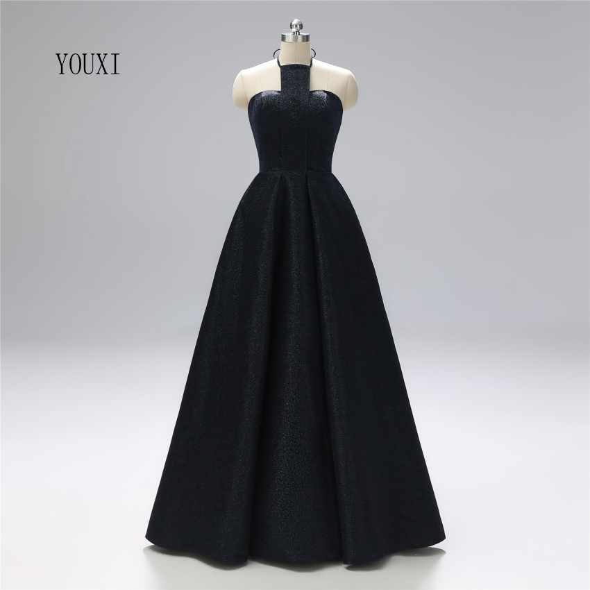 Sexy Halter Backless Black Prom Dresses 2019 New Real Photos Long Lace Up Back Formal Evening Party Gowns