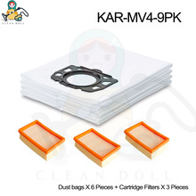 Replacement Karcher spare parts cleaner bags filters for Karcher WD4 WD5 WD6 premium  MV4 MV5 MV6 2.863-005.0 2.863-006.0 цена
