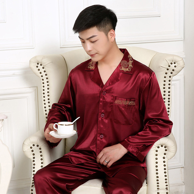 Spring and Autumn silk pajamas long - sleeved men 's silk pajamas suit embroidery summer home size summer thin section