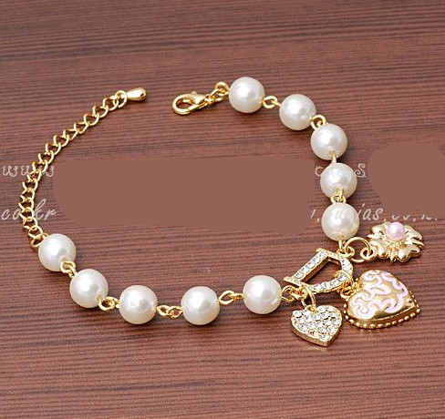 2017 New Sweet And Lovely Imitation Pearl Beads Fashion Crystal Bracelet Heart Flowers Letter D Hang Bracelets And Anklets Femal-in Strand Bracelets from Jewelry & Accessories on Aliexpress.com | Alibaba Group