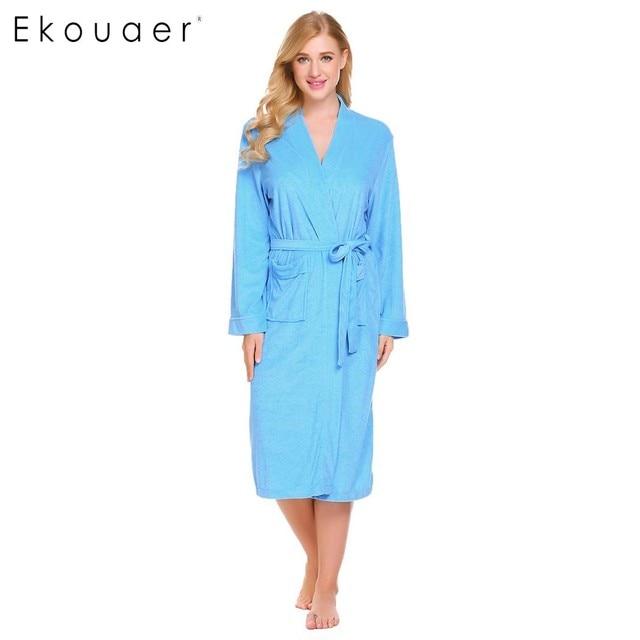 Ekouaer Women Robe Kimono Bathrobe Sleepwear V Neck Pocket Long Sleeve Spa Bathroom  Robes Female