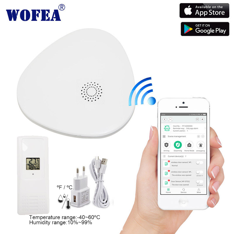 Wofea wifi Termo-Higrômetro temperatura Umidade sensor auto fazer o upload dos dados para a nuvem e loja