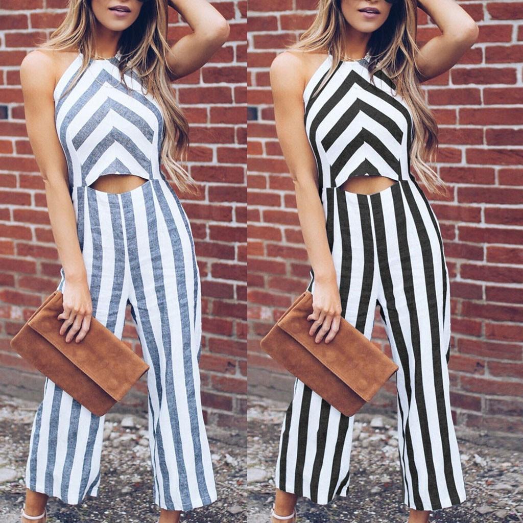 New Elegant Office jumpsuit women Summer Fashion Women Striped Jumpsuits Vest Tank Top Casual Playsuit Long Pants shein #20