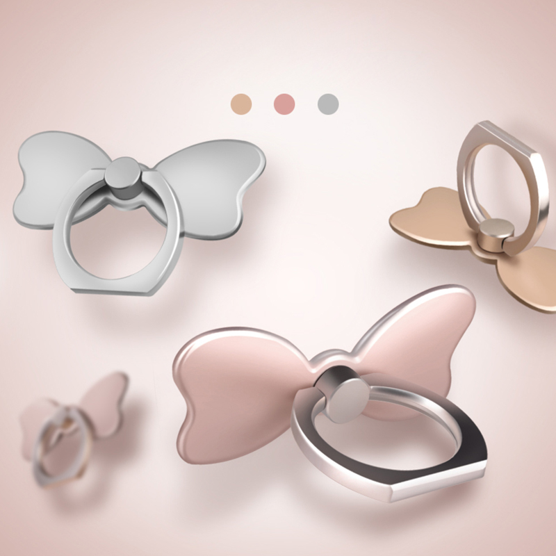 Butterfly Pop 360 Degree Rotation Zinc Alloy Universal Cell Phone Ring Stand Socket with Adhesive Finger