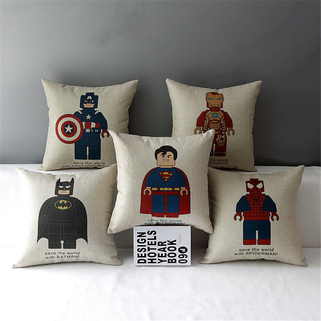 18″ Square Lego Super Hero Linen Pillows