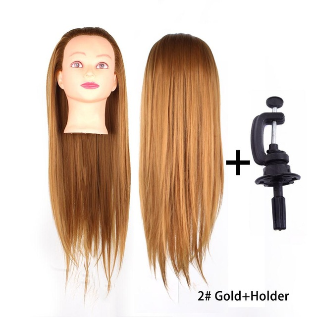 Beauty Salon Mannequin Head With Brown Blonde Hair Hairdressing Practice Head Training Wig 60cm Long Hair #249075