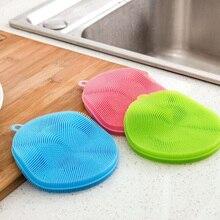 Round Shape Silicone Dishwashing Brush Multipurpose Silicone Scruber Dishwashing Vegetable Scrubbing Heat Resistant Pad