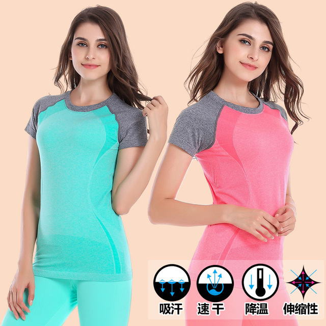 Women Running Shirt Bodybuilding Clothing Fitness Sports Suits Quick Dry Tops Jogging Gym Tees Female Summer Clothes Run T-shirt