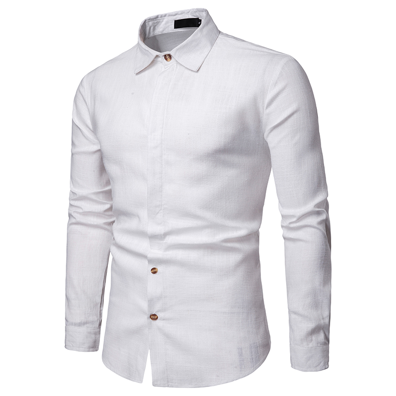 2019 summer brand men 39 s casual shirt new lapel men 39 s linen shirt long sleeve casual soft breathable men 39 s business shirt in Casual Shirts from Men 39 s Clothing