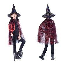 Bambini di Halloween Mago Strega Costume Set 2018 Nuovo Oro Rosso Viola  Mantello Del Capo Veste E Cappello Per Il Ragazzo Della . 426a787bc15e