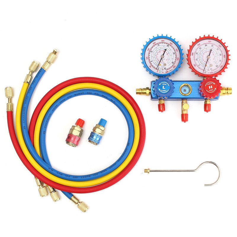 Car Auto A/C Manifold Gauge Kit Set for R134A Refrigerant A/C System Air Conditioner E6I4 Air conditioning Refrigeration