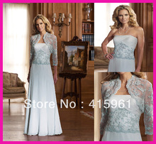 Elegant Blue Beads Lace Floor Length Chiffon Mother of the Bride Gowns With Jacket M374