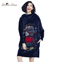 BelineRosa 2017 Fashion Women Hoodies Women's Kawaii Printing Pillow Collar Winter Velour Hoodies Dress with Hat TYW00498