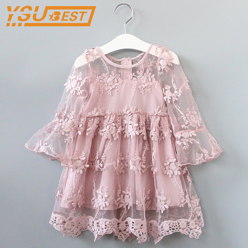 2-7Yrs Baby Girls Lace Flower Dress New 2018 Summer Brand Baby Girl Clothes Kids Dresses For Girls Party Dresses Wedding Clothes