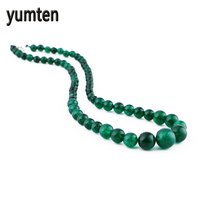 Yumten Green Agate Necklace Power Natural Stone Crystal Men For Women Jewelry Bead Chain Ketting Hippie Gothic Wholesale 5PCS