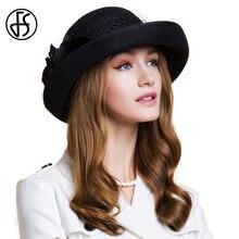 f731c979ddaa FS British Style Womn Wool Felt Fedora Black Gauze And Flower Winter Curl  Wide Brim Bowler Hat Ladies Girls Wedding Hats
