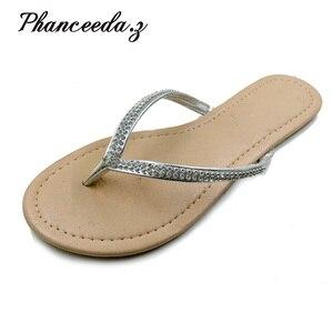 Image 1 - Zapatos informales para mujer, sandalias con abalorios y flores, chanclas florales de playa con hebilla, para verano, 2020