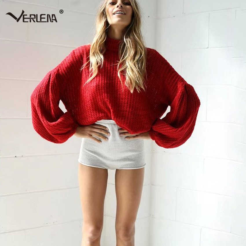 Verlena Black Red Jumper with Balloon Sleeve 2019 High Neck