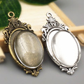 10 sets/lot  two color filigree cameo cabochon 18*25mm base setting pendant tray + clear glass cabochons Wholesale 2016(A1006)