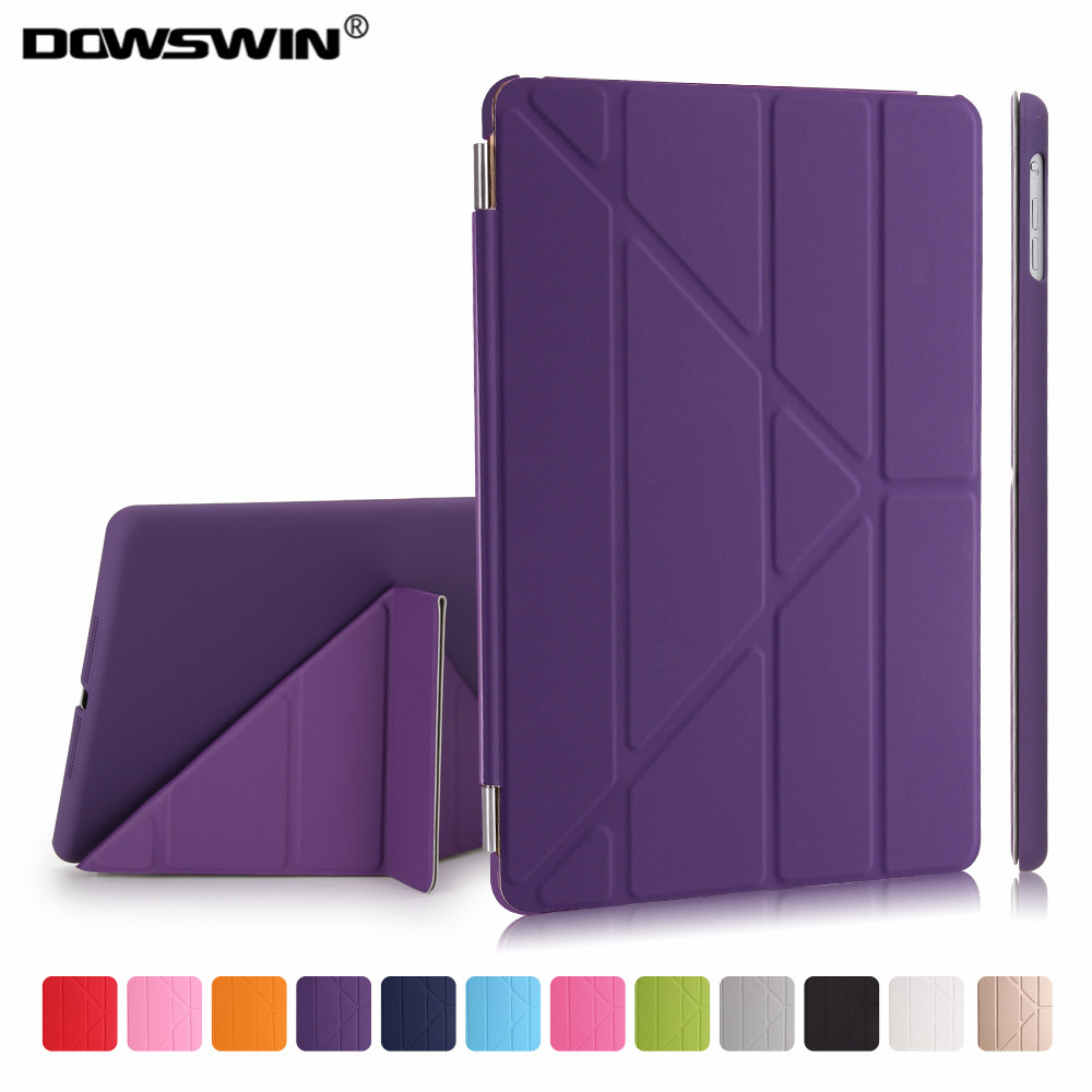 For iPad Air 1 Case pu Leather smart wake up sleep magnetic flip stand with solid plastic back cover Ultra Slim Design for ipad air 2 air 1 case slim pu leather silicone soft back smart cover sturdy stand auto sleep for apple ipad air 5 6 coque