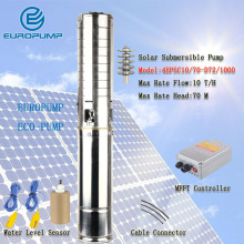 EUROPUMP MODEL(4EPSC10/70-D72/1000) High efficient portable 10m3/h flow rate 70m head solar water pump for irrigation with