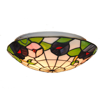American Tiffany Style Stained Glass 12/16 Inch Ceiling Lighting Fixture Bedroom Balcony Porch Aisle Lamp Flush Mount Light C289