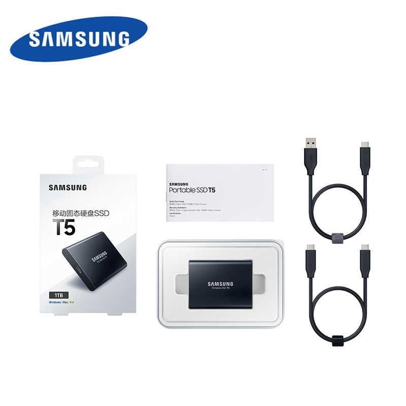 سامسونج T5 العلامة التجارية الأصلية الخارجية SSD T5 USB3.1 المحمولة ssd 250GB 500GB 1 تيرا بايت القرص الصلب الخارجية محركات أقراص الحالة الصلبة لأجهزة الكمبيوتر المحمولة